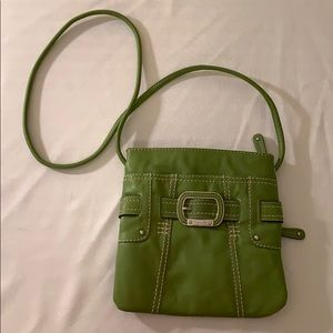 Green leather crossbody purse